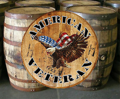 Whiskey Barrel Head American Veteran Bald Eagle Wall Art Bar Sign Home Décor