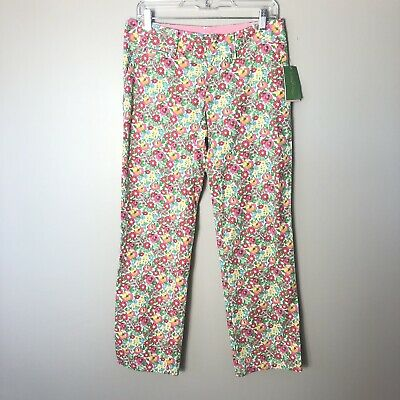 Lilly Pulitzer Pink & Green Floral Mini Gardens By The Sea Whitney Pant Size 2