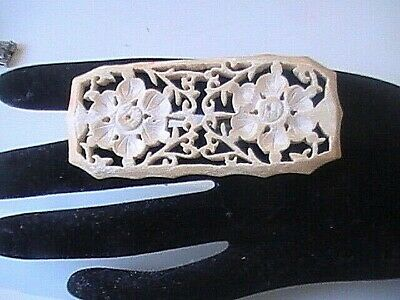 Large Antique Victorian Chinese Carved  Lacey Flower Brooch Pin circa 1890