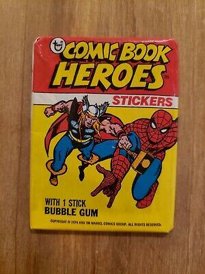 1974 Topps Comic Book Heroes Stickers Unopened Wax Pack. Best Price - Ships Free