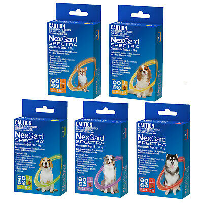 NexGard Spectra Chewables for Dogs ORANGE, YELLOW, GREEN ,PURPLE & RED 1 CHEW