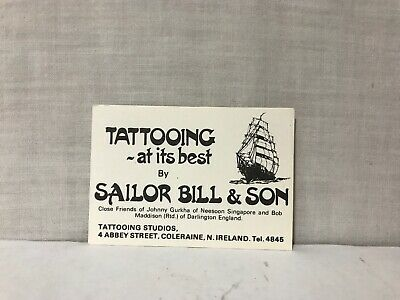 Rare Sailor Bill & Son Tattoo Business Card Ireland Tattooing At It's Best