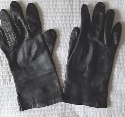 Ladies Soft Black Leather Gloves Silk Lining Size S 7 1/2