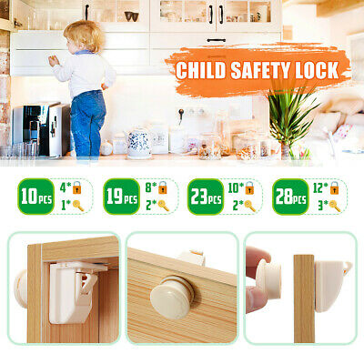 Magnetic No Drilling Cabinet Locks Kids Safety Drawer Proof Cupboard Keys Lock