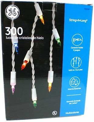 CHRISTMAS HOLIDAY GE 300-CT STRING-A-LONG CLEAR ICICLE-STYLE LIGHTS WHITE WIRE