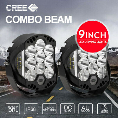 2X 9 inch CREE Round LED Driving Lights Round 12V 24V Offroad 4x4 ATV Work Boat