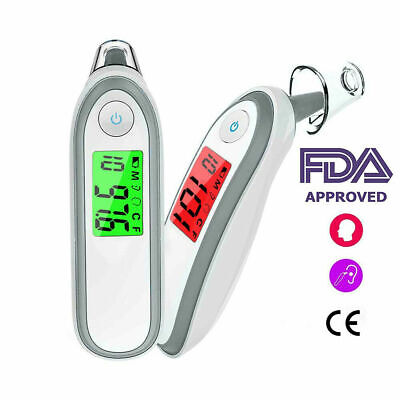 Digital LCD Ear Thermometer Medical Baby Adult Safe Temperature Oral Case V06