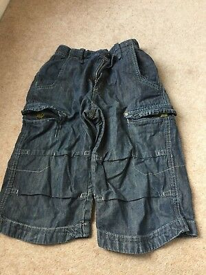 Next Boys Denim Black jean Shorts age 8 years - adjustable waist