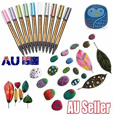 10 Color Paint Marker Pens Metallic Sheen Glitter DIY Calligraphy Art Album UY