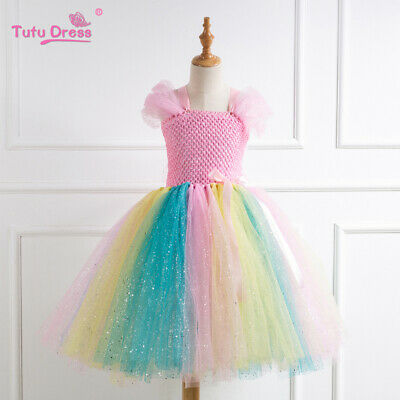 Sequins Pink Kids Flower Girls Party Tutu Rainbow Fancy Dress Costume Outfit