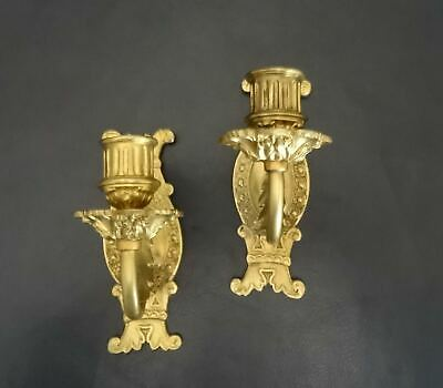 Pair of French Antique Solid Bronze Candle Mural Appliqués -1900's - Lighting