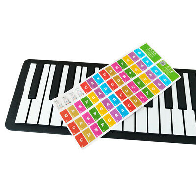 Piano Keyboard Note Stickers Colorful Removable for 37/ 49/ 61/ 88 Key B0A5