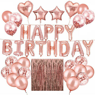 Rose Gold Happy Birthday Bunting Banner Balloons Tinsel Curtain Decorations UK