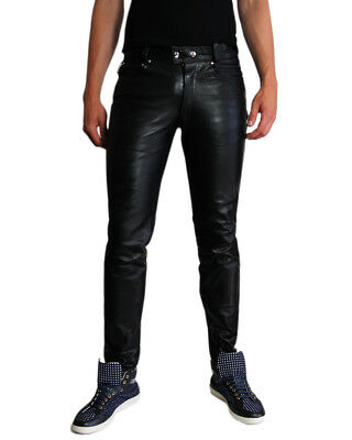 Bockle 1991 Tube Tight Leather Jeans Men's Pants