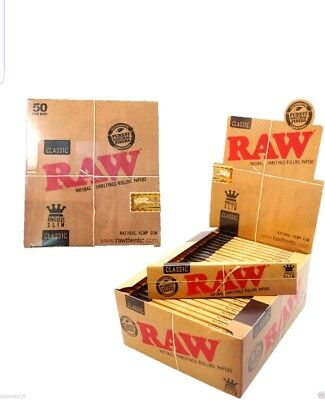 50 x RAW King Size Slim Classic Natural Unrefined Rolling Papers FULL BOX