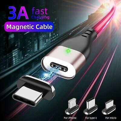 1M 3A Type C/iOS/ Micro USB Android LED Indicator Charger Cable iPhone Samsung