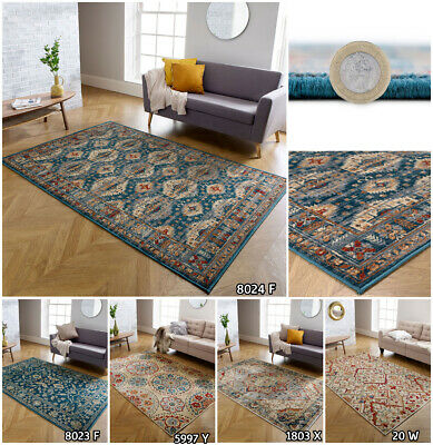 Small Extra Large Runner Multi Coloured Floral Traditional Faded Living Room Rug