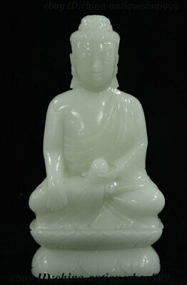 "12"" Old China 100% Natural Afghan Jade Carving Shakyamuni Amitabha Buddha Statue"
