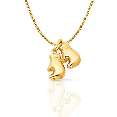 14K Yellow Gold 2 Boxing Glove Pendant &1.5mm Flat Open Wheat Chain Necklace