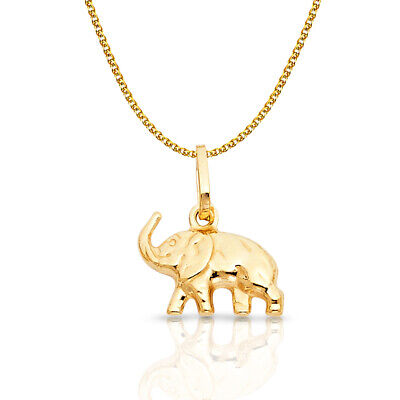 14K Yellow Gold Elephant Luck Charm Pendant 1.2mm Flat Open Wheat Chain Necklace