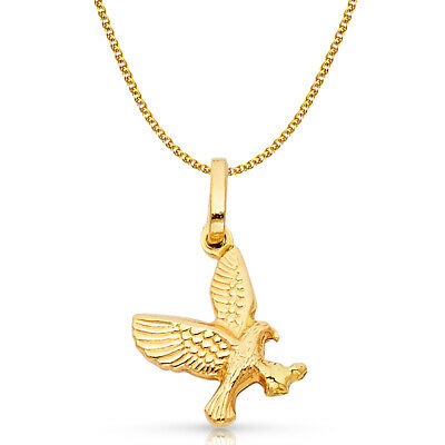 14K Yellow Gold Flying Eagle Charm Pendant &1.5mm Flat Open Wheat Chain Necklace
