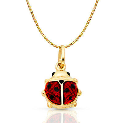 14K Yellow Gold Lady Bug Luck Charm Pendant 1.5mm Flat Open Wheat Chain Necklace