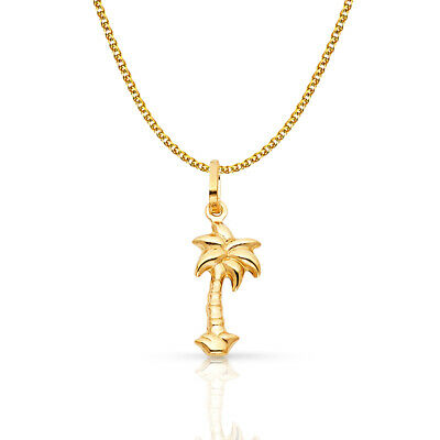 14K Yellow Gold Palm Tree Charm Pendant & 1.2mm Flat Open Wheat Chain Necklace