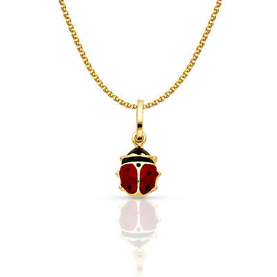 14K Yellow Gold Lady Bug Luck Charm Pendant 1.2mm Flat Open Wheat Chain Necklace