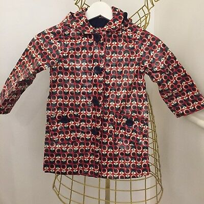 Adorable Too Girls Red Patterned Raincoat Age 4T