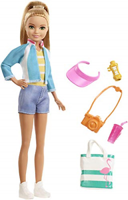 Barbie FWV16 Travel Stacie Doll, with 5 Accessories, Blonde