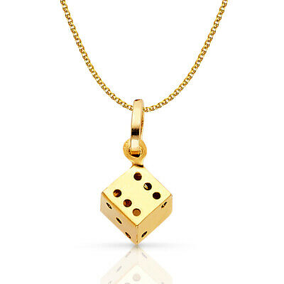 14K Yellow Gold Dice Charm Pendant with 1.2mm Flat Open Wheat Chain Necklace