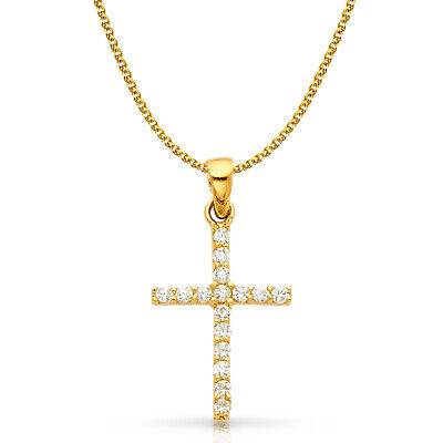 14K White Gold Cross CZ Charm Pendant & 1.5mm Flat Open Wheat Chain Necklace