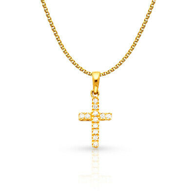 14K White Gold Cross CZ Charm Pendant & 1.2mm Flat Open Wheat Chain Necklace
