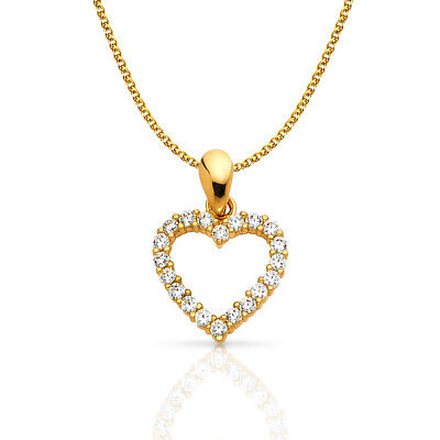 14K Yellow Gold Open Heart Charm Pendant & 1.2mm Flat Open Wheat Chain Necklace