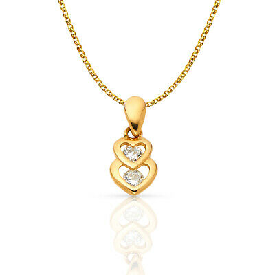 14K Yellow Gold 2 Hearts CZ Charm Pendant &1.2mm Flat Open Wheat Chain Necklace