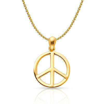 14K Yellow Gold Peace Sign Charm Pendant &1.2mm Flat Open Wheat Chain Necklace