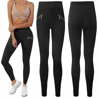 Ladies Womens Fleece Legging Thick High Waist Thermal Zip Slim Fit Trousers