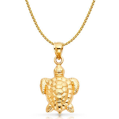 14K Yellow Gold Turtle Charm Pendant with 1.7mm Flat Open Wheat Chain Necklace