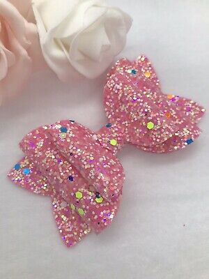 Glow In The Dark Barbie Pink Hair Bow Clip /School Hair Bow / Glitter Hair Bow