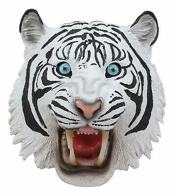 """Blue Eyed White Siberian Tiger Head Wall Sculpture Decorative Plaque 8.5""""H"""