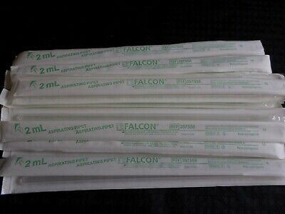 (23) BD Falcon 2mL Polystyrene Aspirating Pipet Individual Wrap Sterile 357558