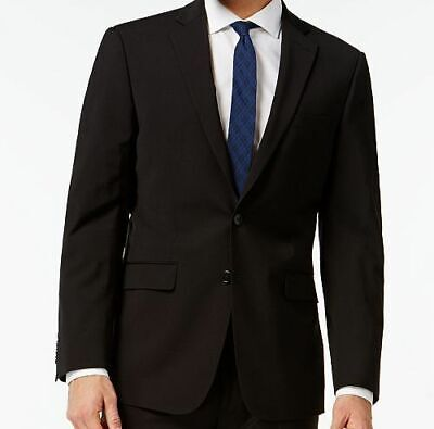 $369 Calvin Klein 44 R Men Black Extreme Slim Fit Wool Jacket Blazer Sport Coat