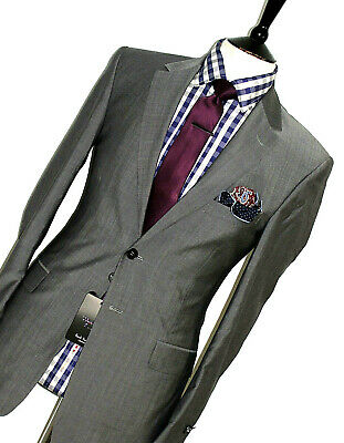 Bnwt Luxury Mens Paul Smith Willoughby Sharkskin Grey Slim Fit Suit 36R W30