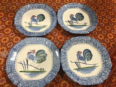 VTG Los Angeles Pottery Spongeware Blue Chicken Rooster Dinner Plates Lot Of 4