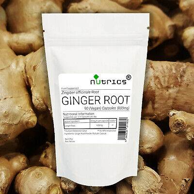 Nutrics® 100% Pure GINGER ROOT 600mg x 90 Vegan Capsules Inflammation Superfood