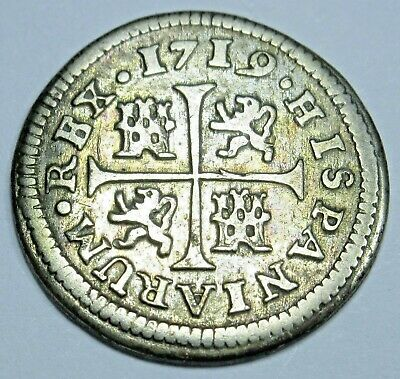 1719 Spanish Silver 1/2 Reales Piece of 8 Real Colonial Era Pirate Treasure Coin