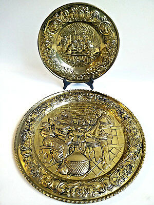 "Two Vintage Brass English Wall Plates Colonial Life 12"" 16.5"" Made in England"