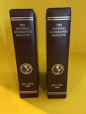 1980 National Geographic Magazine Empty Faux Leather Slip Cases Storage Boxes