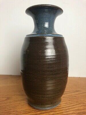 Blue Brown Signed Pottery Vase CHC 8.75""