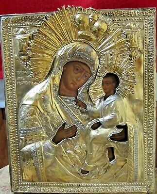 Finely decorated an icon of Tikhvinskaya Mother of God in silver-gilt oklad, Rus